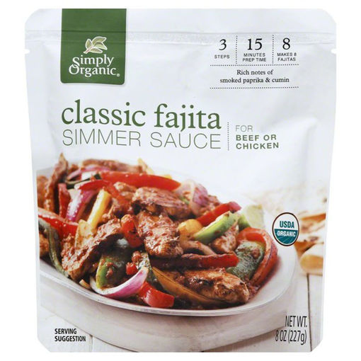 Picture of Simply Organic Organic Simmer Sauce Classic Fajita For Beef Or Chicken Pouch