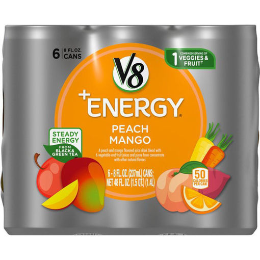 Picture of V8 V-Fusion +Energy Vegetable & Fruit Juice Peach Mango