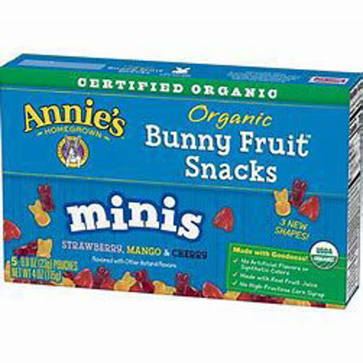 Picture of Annies Homegrown Organic Bunny Fruit Snacks Minis Strawberry Mango & Cherry