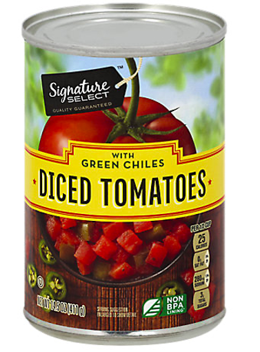 Picture of Signature SELECT Tomatoes Diced Petite With Green Chilies