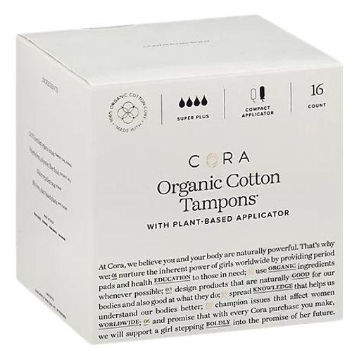 Picture of Cora Organic Tampons Super Plus - 16 CT