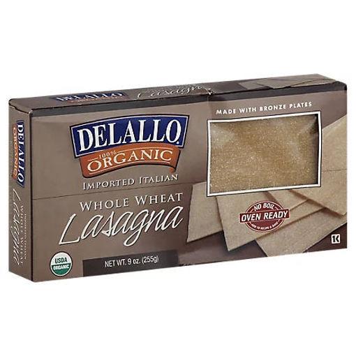 Picture of DeLallo Pasta Organic 100% Whole Wheat Lasagna Box - 9 Oz