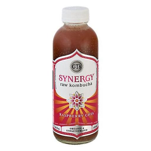 Picture of GTs Enlightened Synergy Organic Kombucha Raspberry Chia - 16.2 Fl. Oz.