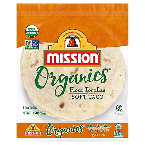 Picture of Mission Organic Tortillas Flour Soft Taco Bag 6 Count - 10.5 Oz
