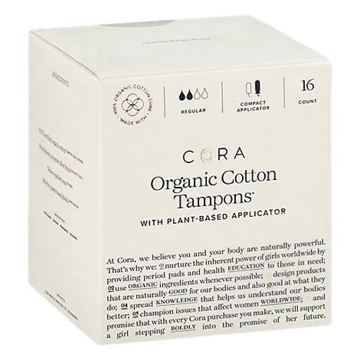 Picture of Cora Tampons Premium Organic Cotton With Compact Applicators Regular - 16 Count