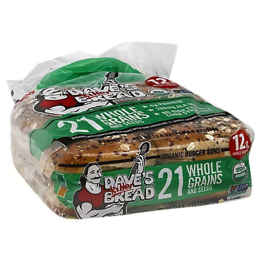 Picture of Daves Killer Bread Organic 8ct 21 Whole Grain And Seeded Bun - 18 Oz