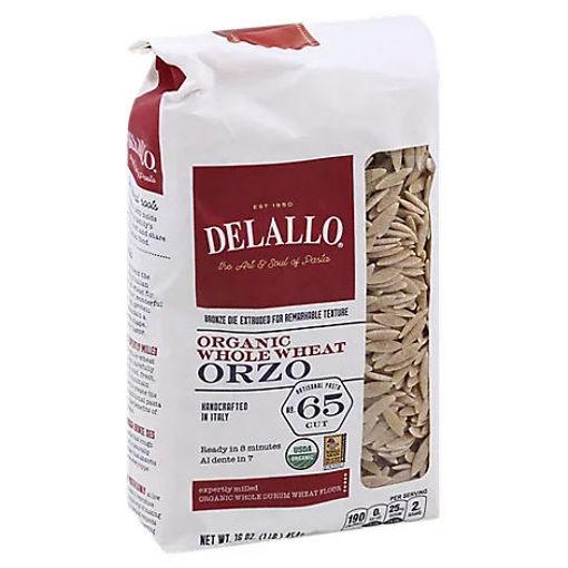 Picture of DeLallo Pasta Organic 100% Whole Wheat No. 65 Orzo Bag - 16 Oz