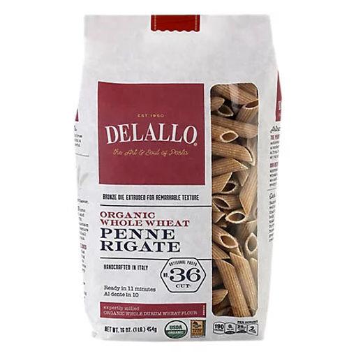 Picture of DeLallo Pasta Organic 100% Whole Wheat No. 36 Penne Rigate Bag - 16 Oz