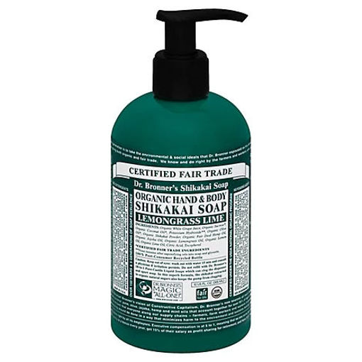 Picture of Dr. Bronners Organic Soap Pump Sugar 4 In 1 Lemongrass Lime - 12 Fl. Oz.