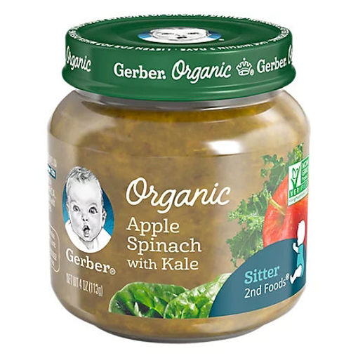 Picture of Gerber 2nd Foods Baby Food Organic Apple Spinach Kale Jar - 4 Oz