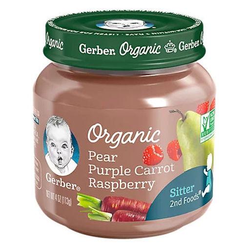 Picture of Gerber 2nd Foods Baby Food Organic Pear Purple Carrot Raspberry Jar - 4 Oz