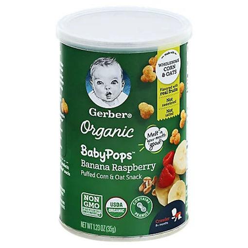 Picture of Gerber Babypops Organic Banana Raspberry Corn - 1.23 OZ