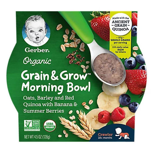Picture of Gerber Morning Bowl Banana Mixed Berry Infant Cereal Organic - 4.5 OZ