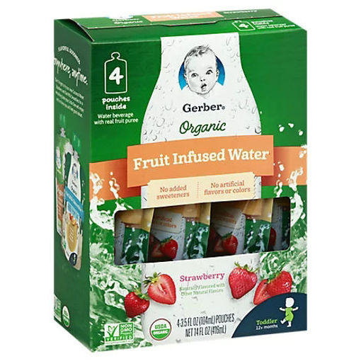 Picture of Gerber Organic Fruit Infused Water Strawberry - 4-3.5 FZ