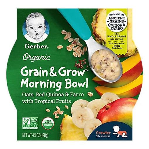 Picture of Gerber Tropical Fruits Grain & Grow Morning Bowl Organic - 4.5 OZ