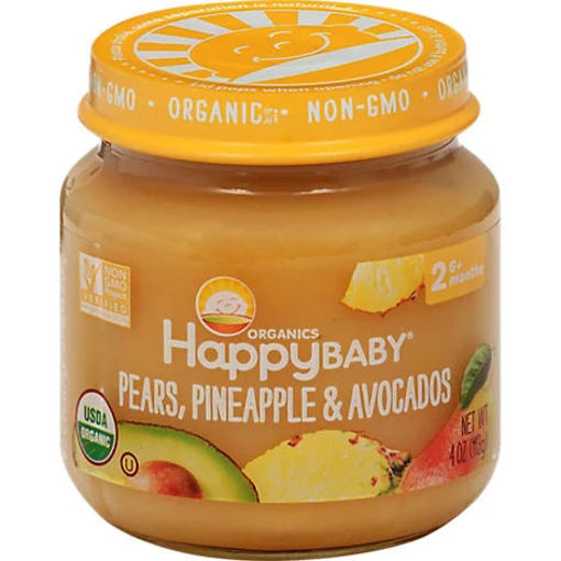 Picture of Happy Baby Organic Stage 2 Cc Pear Pineapple & Avocados Jar - 4 OZ
