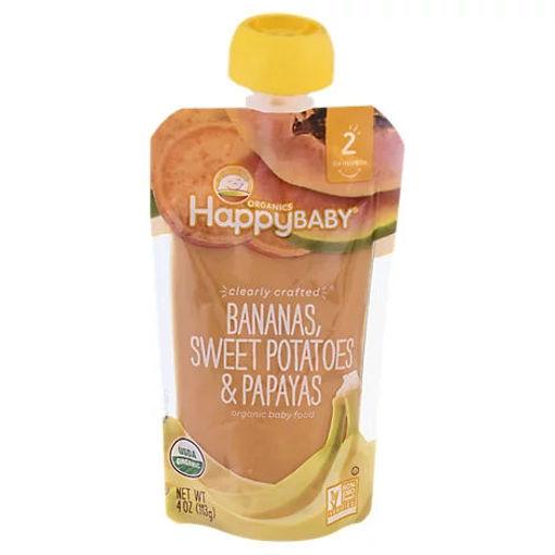 Picture of Happy Baby Organics Baby Food Organic Bananas Sweet Potatoes & Papayas 2 (6+ Months) - 4 Oz