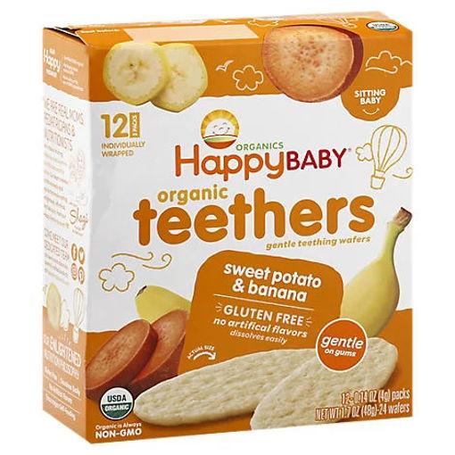 Picture of Happy Baby Organics Gentle Teething Wafers Sweet Potato & Banana - 12-0.14 Oz