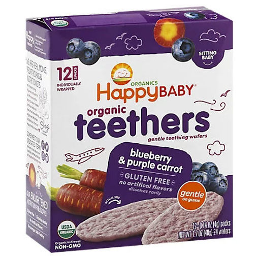Picture of Happy Baby Organics Gentle Teething Wafers Blueberry & Purple Carrot - 12-0.14 Oz