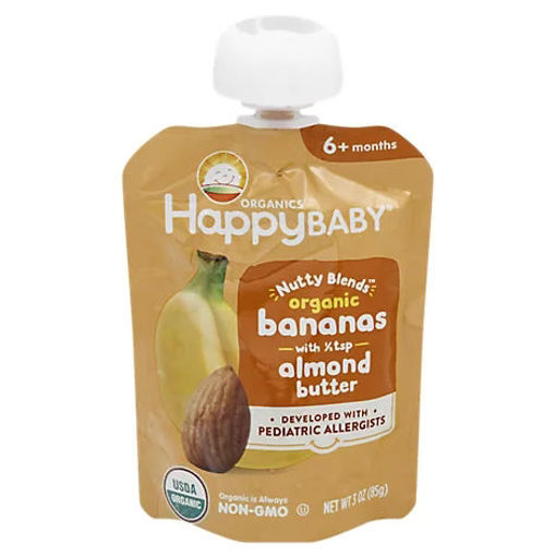 Picture of Happy Baby Organics Nutty Blends Organic Bananas With 1/2 Tsp Almond Butter - 3 OZ