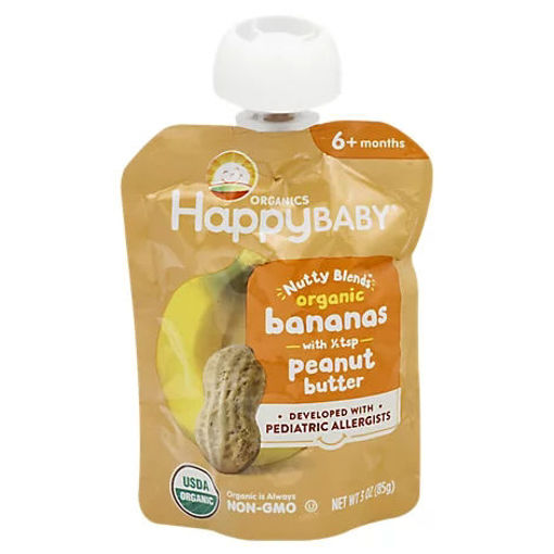 Picture of Happy Baby Organics Nutty Blends Organic Bananas With 1/2 Tsp Peanut Butter - 3 OZ