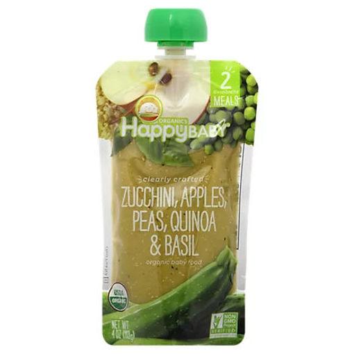 Picture of Happy Baby Organics Zucchini Apples Peas Quinoa & Basil - 4 Oz