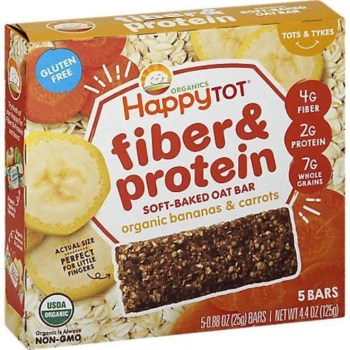 Picture of Happy Tot Organics Fiber & Protein Soft Baked Oat Bar Bananas & Carrots - 4.4 Oz