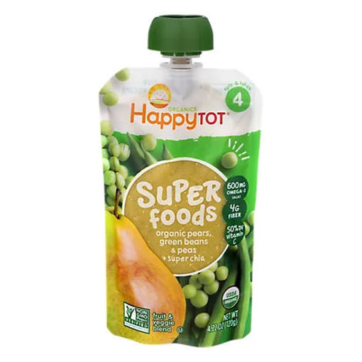 Picture of Happy Tot Organics Fruit & Veggie Blend Organic Pears Peas & Green Beans + Super Chia 4 - 4.22 Oz