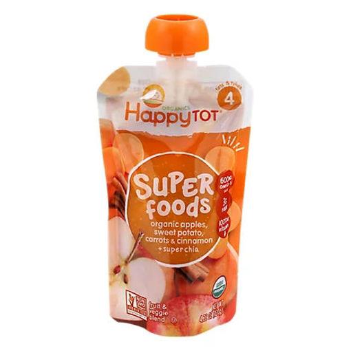 Picture of Happy Tot Organics Fruit & Veggie Blend Apples Sweet Potato Carrots Cinnamon + Super Chia - 4.22 Oz