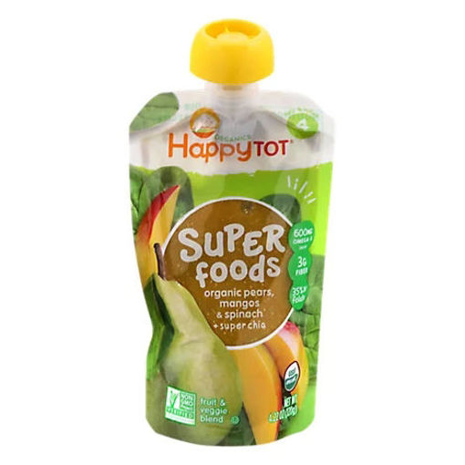 Picture of Happy Tot Organics Super Foods Blend Pears Mangos & Spinach + Super Chia - 4 Oz