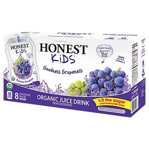 Picture of Honest Kids Juice Drink Organic Goodness Grapeness - 8-6.75 Fl. Oz.