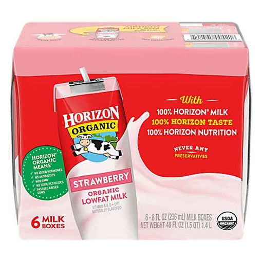 Picture of Horizon Organic Milk 1% Lowfat Strawberry - 6-8 Fl. Oz.