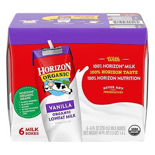Picture of Horizon Organic Milk 1% Lowfat Vanilla - 6-8 Fl. Oz.