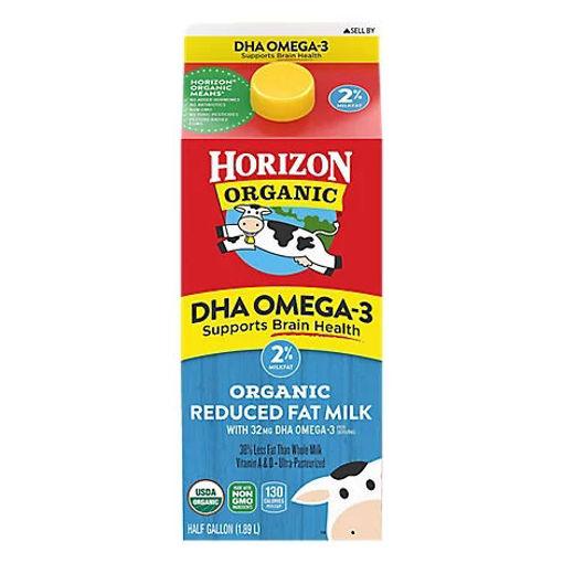 Picture of Horizon Organic Milk DHA Omega 3 2% Reduced Fat Half Gallon - 64 Fl. Oz.