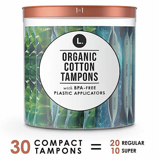 Picture of L. Organic Cotton Compact Tampons Regular/Super Absorbency Plastic Applicator - 30 Count