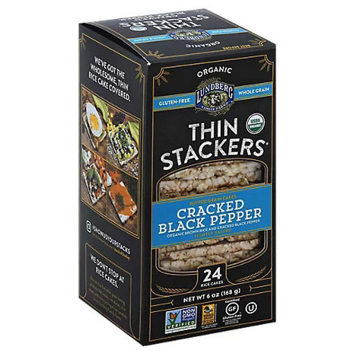Picture of Lundberg Organic Thin Stackers Grain Cakes Puffed Cracked Black Pepper 24 Count - 6 Oz