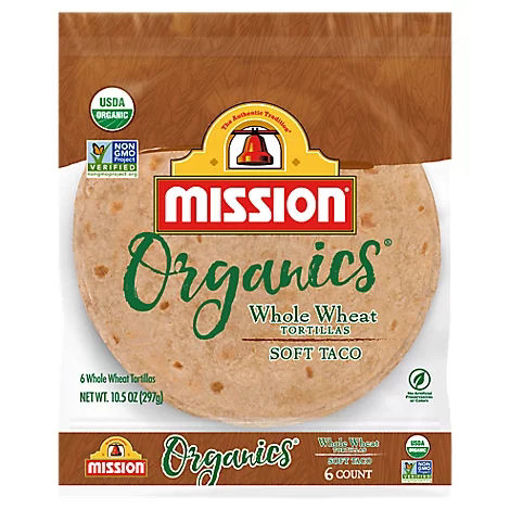 Picture of Mission Organic Tortillas Whole Wheat Soft Taco Bag 6 Count - 10.5 Oz