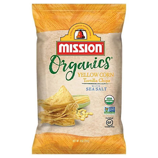 Picture of Mission Organics Tortilla Chips Yellow Corn with Sea Salt - 9 Oz