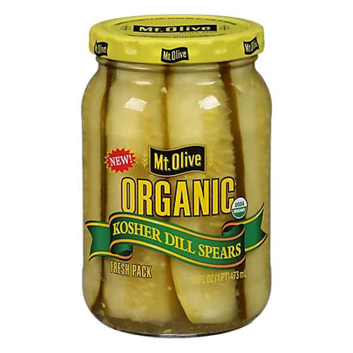 Picture of Mt. Olive Organic Pickles Kosher Dill Spears Fresh Pack - 16 Fl. Oz.