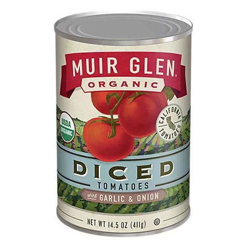 Picture of Muir Glen Tomatoes Organic Diced With Garlic & Onion - 14.5 Oz