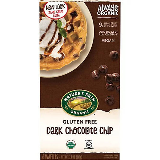Picture of Natures Path Organic Waffles Dark Chocolate Chip Gluten Free 6 Count - 7.4 oz