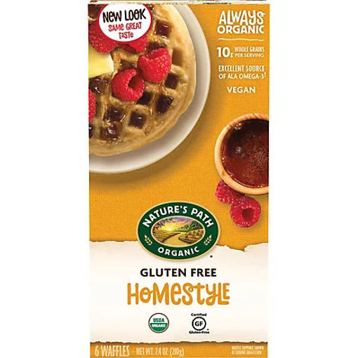 Picture of Natures Path Organic Waffles Home Style Gluten Free 6 Count - 7.5 Oz