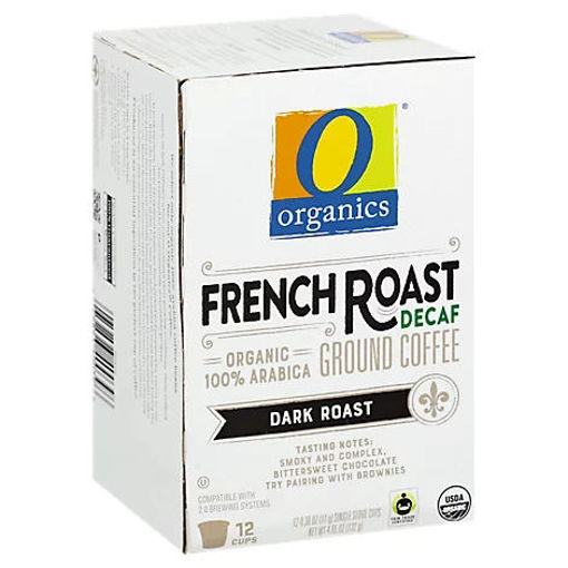 Picture of Organic Coffee Single Serve Cups Dark Roast French Roast Decaf - 12-0.38 Oz