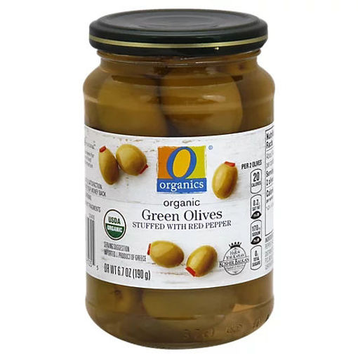 Picture of Organic Olives Green Stuffed With Red Pepper - 6.7 Oz