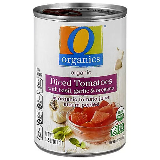 Picture of Organic Tomatoes Diced In Tomato Juice With Basil Garlic & Oregano - 14.5 Oz