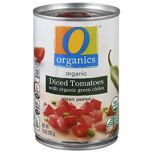 Picture of Organic Tomatoes Diced In Water With Organic Green Chiles - 10 Oz