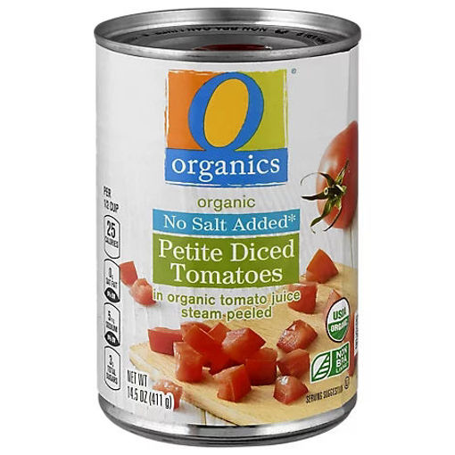 Picture of Organic Tomatoes Diced Petite In Tomato Juice No Salt Added - 14.5 Oz