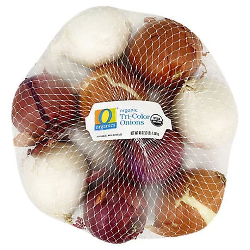 Picture of Organic Tri Color Onions Prepacked Bag - 3 Lb