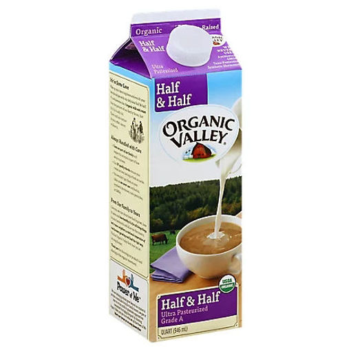 Picture of Organic Valley Half & Half Organic Ultra Pasteurized Grade A - 1 Quart