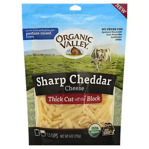 Picture of Organic Valley Organic Cheese Finely Shredded Sharp Cheddar - 6 Oz